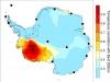 Mappa della calotta antartica occidentale. Foto di Henry Brecher, cortesia della Ohio State University