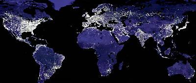 Vita sulla terra, i puntini luminosi rappresentano gli insediamenti umani   NASA, 2000