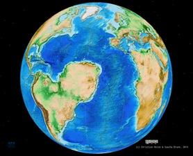 Modello ipotetico della regione circum-atlantica come sarebbe  oggi se l'Africa fosse stata divisa in due parti lungo il sistema di Rift in Africa occidentale. Nel modello, la parte nord-occidentale  dell'Africa si sarebbe spostata verso il Sud America, consentendo la formazione di un Oceano Atlantico al posto del Sahara (crediti: Sascha Brune / Christian Heine)