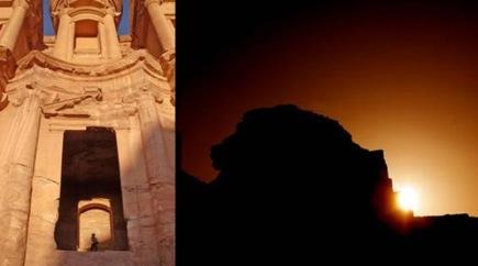 Petra. Solstizio d'inverno. Il sole al tramonto illumina il podio all'interno del monastero. (crediti: J.A.Belmonte – A.C. Gonzalez-Garcia)