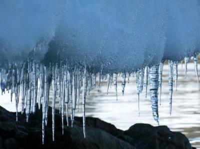 Stalattiti di ghiaccio formate dallo scioglimento di un ghiacciaio in Antartide occidentale. Crediti: Mike Meredith