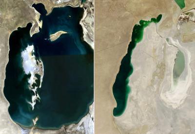 Immagini del Lago d'Aral acquisite dai satelliti MODIS della NASA. A sinistra: come appariva il Lago nel 2000; a destra: il Lago nel 2014. Sono evidenziati i contorni della linea di spiaggia del 1960 (fonte: NASA)