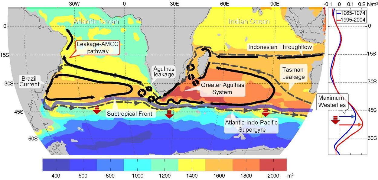 Il sistema di Agulhas e la sua perdita nell'Atlantico sud orientale. L'aumento della temperatura aumenta il travaso di acqua calda attraverso la corrente di Agulhas intorno al Corno d'Africa.  Questo provocherà a sua volta un cambiamento del clima.  Crediti: Erik van Sebille, UM/RSMAS