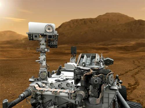 Il rover Curiosity, ricostruzione artistica su Marte. Crediti immagine: NASA/JPL-Caltech