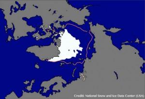 Estensione del ghiaccio artico a settembre 2012