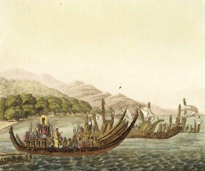Guerrieri tahitiani in fuga (da 'Il costume antico e moderno', di Giulio Ferrario; Milano, tra il 1816 e il 1827)