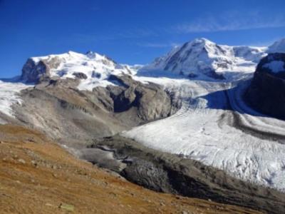 Il ghiacciaio Gorner, sul Monte Rosa, secondo ghiacciaio alpino per estensione, alla fine dell' estate 2017. (Crediti : M. Huss)