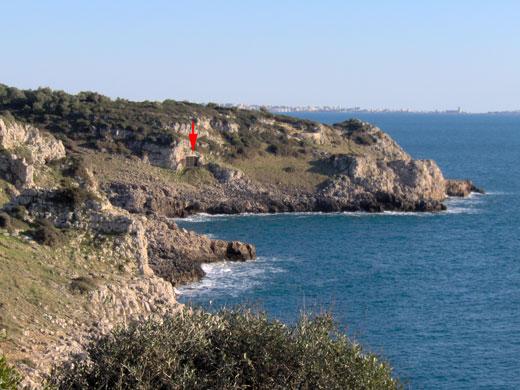 Grotta del Cavallo (freccia rossa ) nella baia di Uluzzo, che si trova nel Parco Naturale Regionale di Portoselvaggio, Puglia. Crediti: Annamaria Ronchitelli