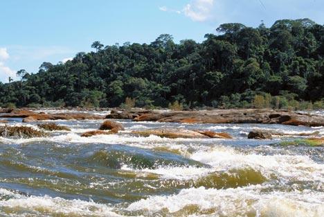 Le cascate di  Jericoá del fiume Xingu, dove verrà costruita la diga. Foto di International Rivers.