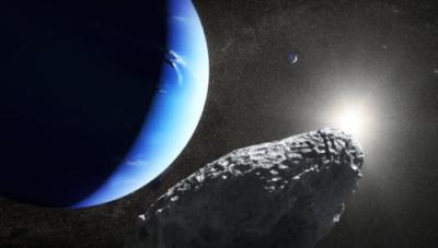 Raffigurazione di Ippocampo, la piccola luna di Nettuno, scoperta dal telescopio Hubble nel 2013 (crediti: NASA, ESA e J. Olmsted)