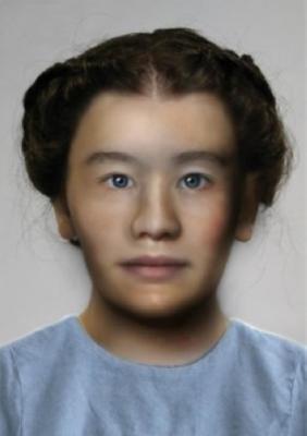 Ricostruzione del volto della giovane donna (crediti: Caroline Wilkinson, Mark Roughley, Ching Liu e Kathryn Smith, del Face Lab presso la John Moores University, per i rispettivi contributi alla riproduzione facciale)