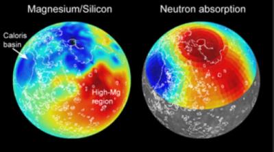A sinistra: mappa magnesio/silicio; a destra: mappa di assorbimentodei neutroni a bassa energia(crediti: Carnegie Institution)