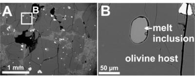 Immagini al microscopio elettronico di una picrite (roccia basaltica dell' Isola di Baffin).L'olivina (A, in grigio) ospita inclusioni di vetro fuso (B) contenenti piccole quantità d'acqua, formatasi nel mantello della Terra (by Lydia Hallis)