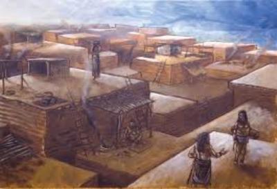 Ricostruzione artistica dei passaggi tra le case della città (fonte: Wikipedia)