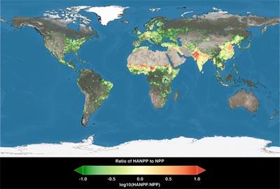 Sfruttamento della terra per usi umani: le parti rosse sono le aree in cui la popolazione consuma più di quello che la terra può produrre - fonte NASA