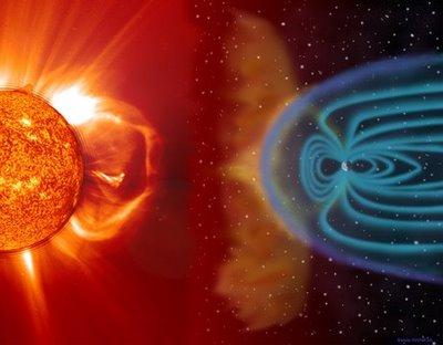 Il vento solare deviato dal campo magnetico terrestre