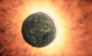 Formazione della Luna da impatto gigante tra Terra e Theia