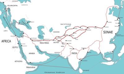 Antiche vie della seta terrestri e marittime (da Wikipedia)